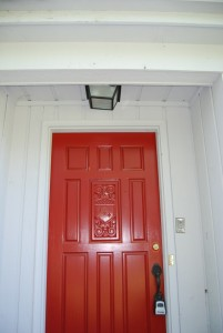Detail of front red door.